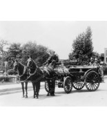 Fire Men On Horse Drawn Fire Wagon 1900s Old 8x10 Reprint Of Photo - $20.10