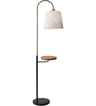 Adesso 3408-21 Floor Lamps Black and Antique Brass Metal Wood Jeffrey - $200.00