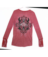 Harley-Davidson Wine Colored Embellished Tee Lo... - $62.99