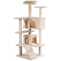 "52"" Cat Scratching Post and Ladder Kitten Tower Tree - Beige - £54.12 GBP"