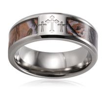 8mm Titanium Three Crosses Rings Mens Outdoor Realtree Camouflage Wdding Bands - $24.80