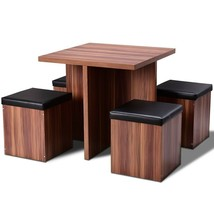5 Piece Wood Dining Table Set Kitchen Dinette Table Set Storage Ottoman ... - $252.44