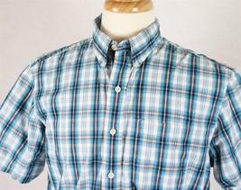 IZOD Mens Short Sleeve Plaid Blue Shirt Size Medium - $11.77