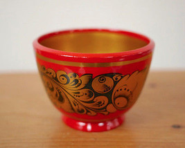 Vintage Russian Khokhloma Damask Floral Red Black Gold Lacquer Wood Bowl... - $24.99