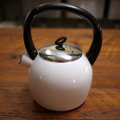 Copco Camden Classic Modern White Enamel Steel Water Kettle Tea Pot