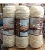 Lion Brand Yarn Fishermen's Wool 3 Skeins Natural 8oz Virgin Wool - $37.81