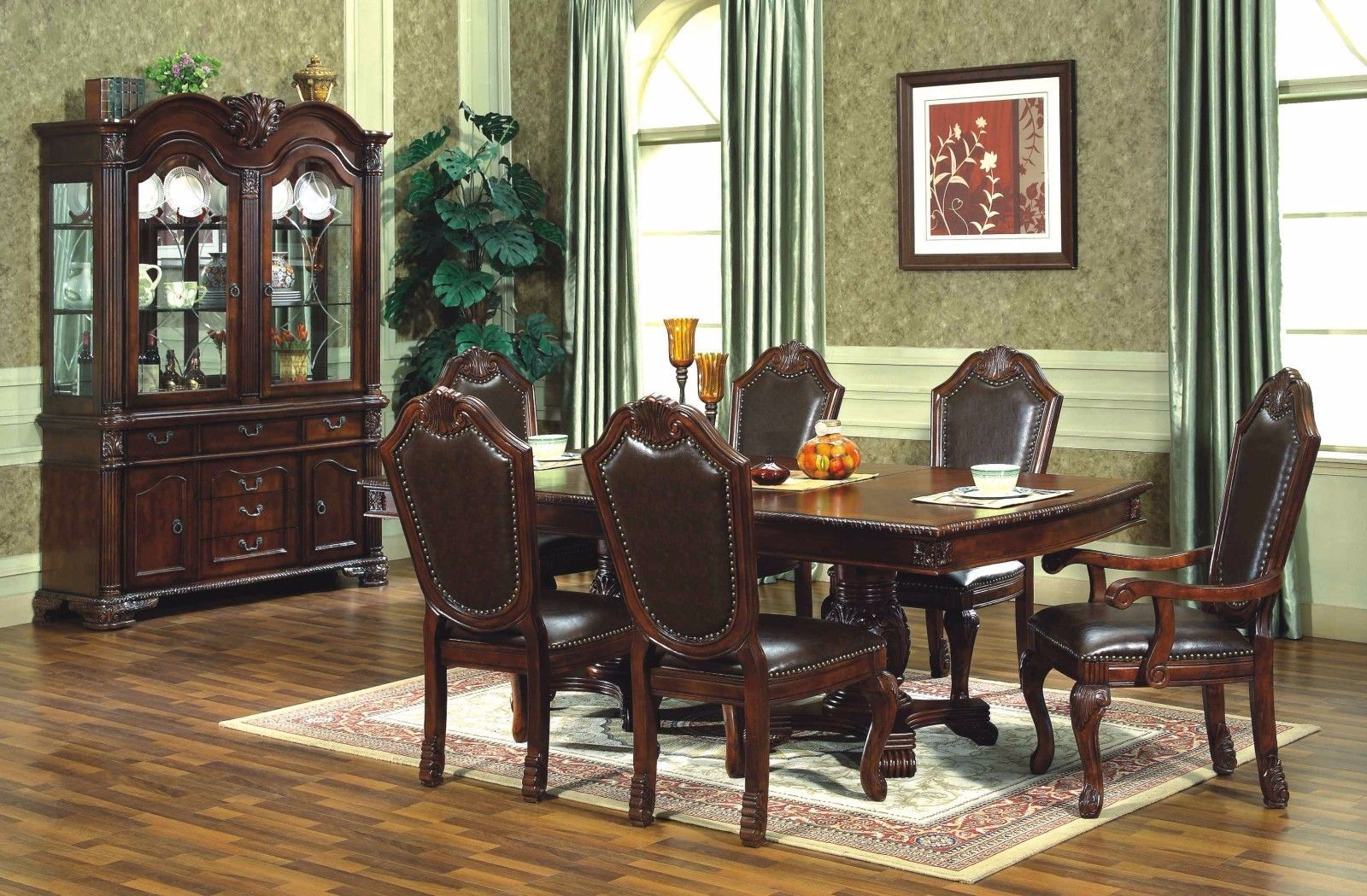 Mcferran RD5004 Dining Room Set 7pc. Cherry Furnishings Traditional Style