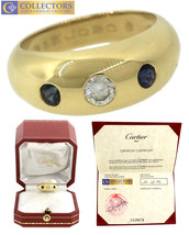 Authentic Cartier 18K 750 Yellow Gold 0.25ct Diamond Blue Sapphire Ring - $2,749.72