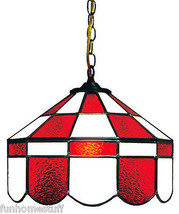 RED & WHITE 14 INCH STAINED GLASS EXECUTIVE HOME BAR HANGING LAMP LIGHT FIXTURE - $329.95