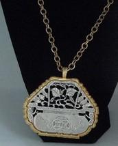 Vintage 1960's Kenneth Lane Modernest Foliage Pendant Necklace Silver Go... - $245.00