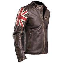 Mens Biker vintage motorcycle cafe racer Real leather jacket With U.K Flag - $128.62