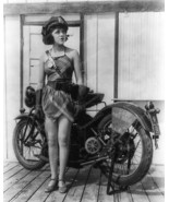 Police Girl By Her Motorcycle Vintage 8x10 Repr... - $20.10