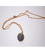 Jewelry Blue Zircon Crystal Finch Egg Necklace Egg Art Gold Plate 18 in ... - $15.00