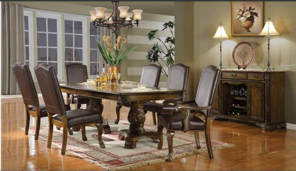Mcferran RD8801 Dining Room Set 7pc. Walnut Pedestal Traditional Style