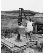 Small Girl Pumps Water From Well 1900s 8x10 Rep... - $20.10