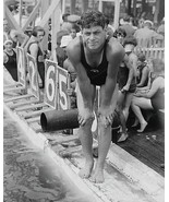 Swim Champ Johnny Weissmuller Poses By Pool Vintage 8x10 Reprint Of Old ... - $20.10