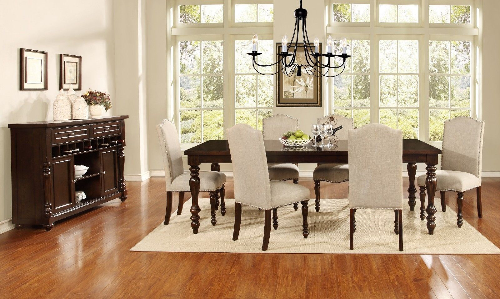 Mcferran RD1888  OAK REG  Dining Room Set 5pc. BLACK Counter Heigh Traditional