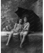 Victorian Children In Rain With Umbrella 8x10 R... - $20.20