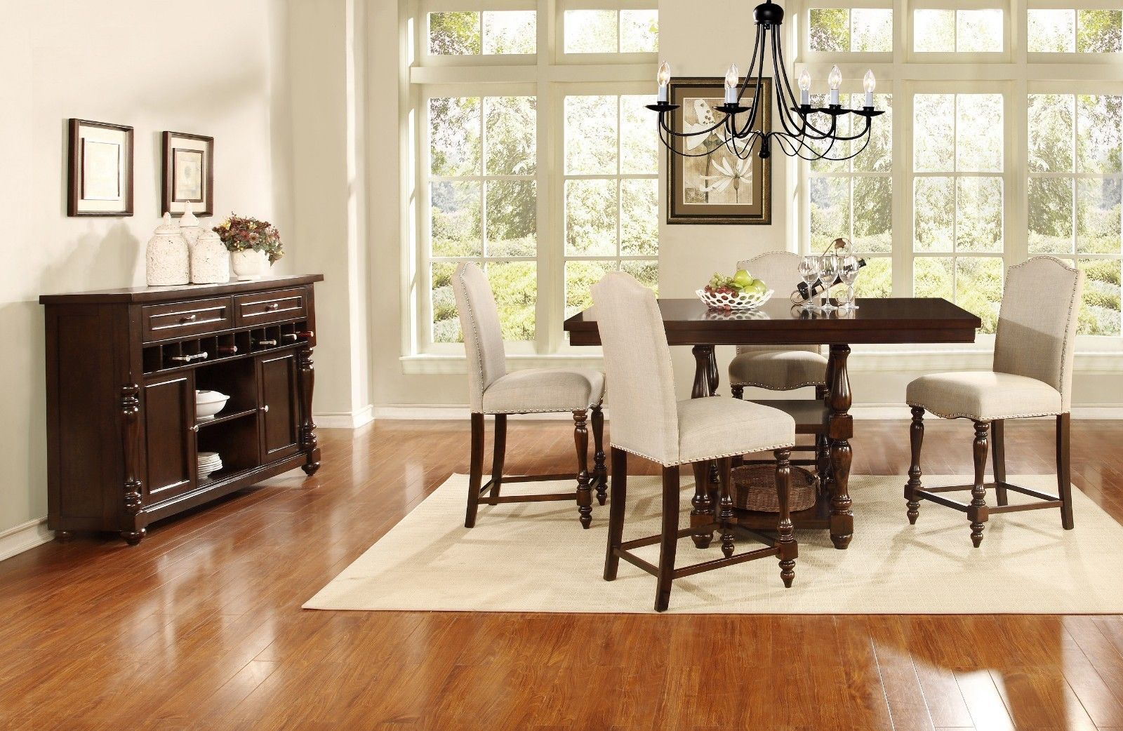 Mcferran RD1889 OAK PUB Dining Room Table BLACK Counter Heigh Traditional Style