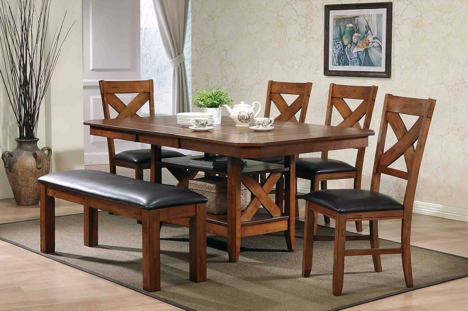 Mcferran LODGE Dining Room Set 5pc. Walnut Furnishings Contemporary Style
