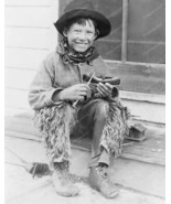 """Young Little """"Cowboy"""" Carves Canoe 8x10 Reprint Of Old Photo - $20.20"""