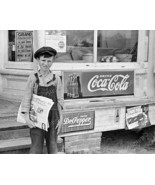 Young Newspaper Boy With Coca Cola Sign 8x10 Re... - $20.20