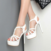 ps242 Trending strappy sandals, size 34-39, white - $48.80