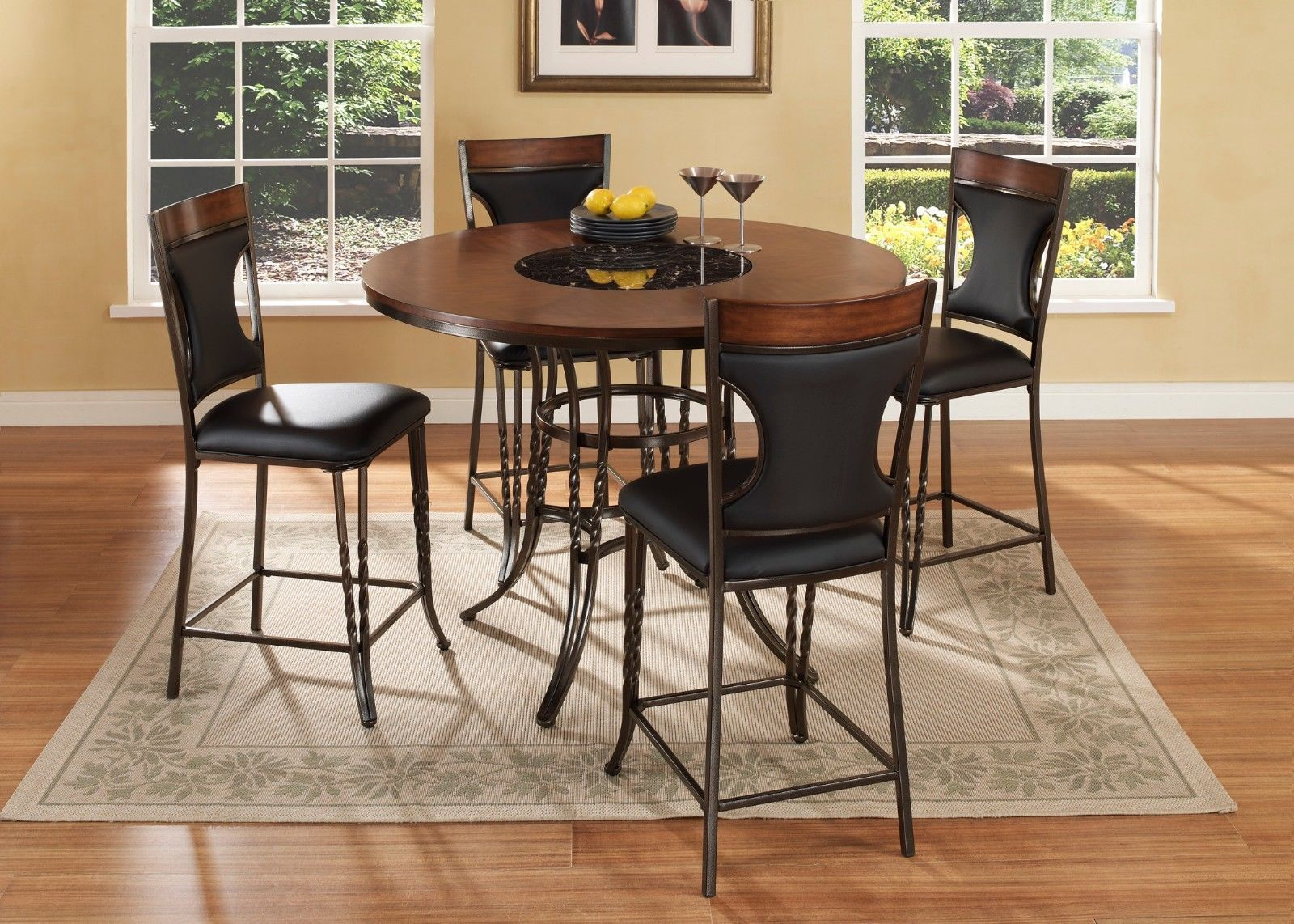 Mcferran DYNASTY Counter High Dining Room Set 5pc. Chic Modern Style