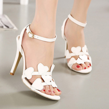 ps243 European style high heeled heart sandals, size 34-40, white - $42.80