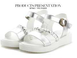 ps244 European style wedge sandals, genuine leather, size 34-40, white - $48.80