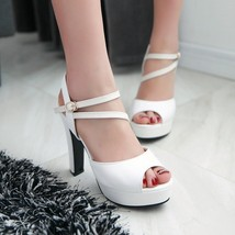 ps245 European style double strappy sandals, size 35-40, white - $48.80