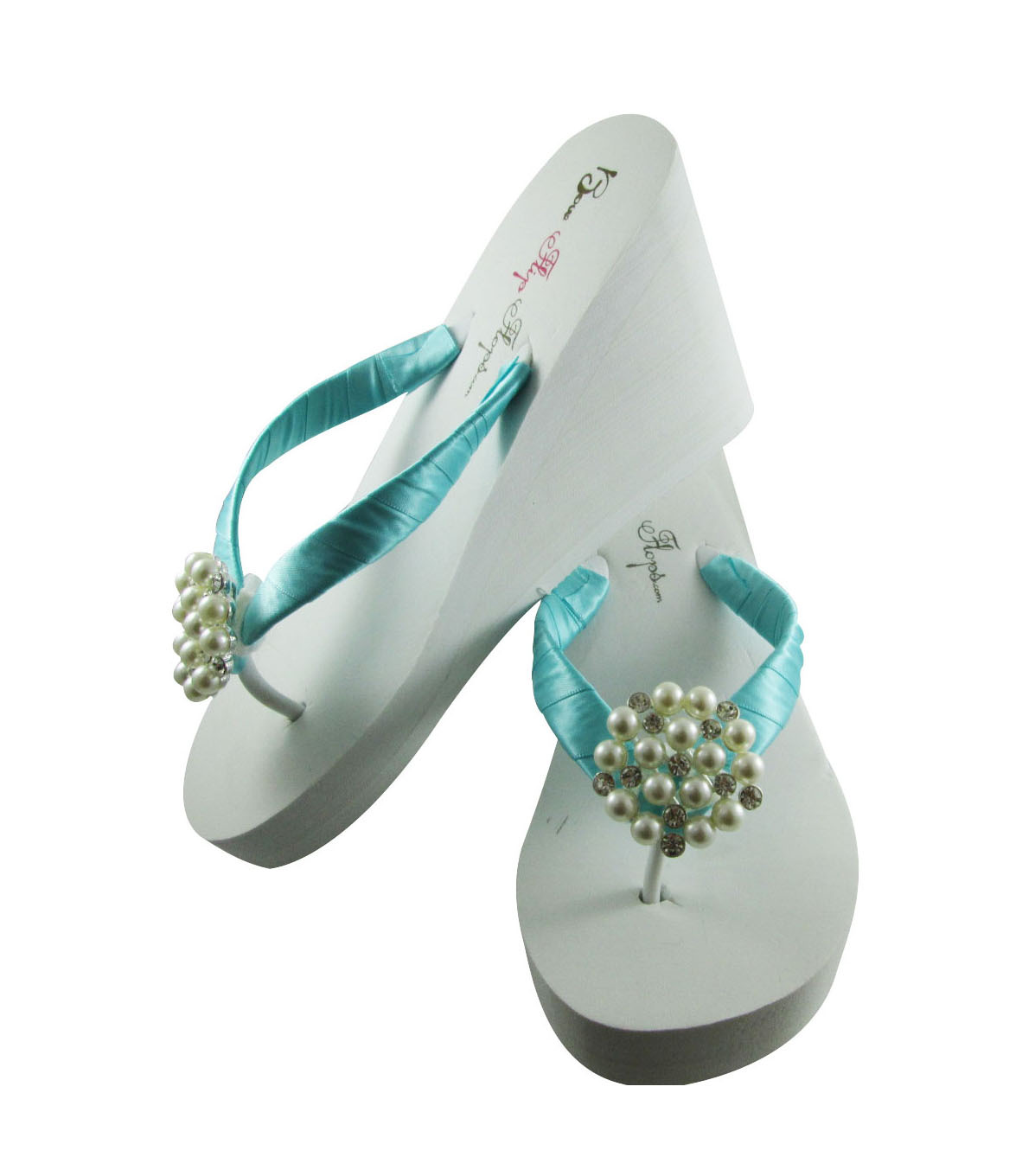 6d76e7fcf2e3 Turquoise White Wedding Pearl Flip Flop and 50 similar items