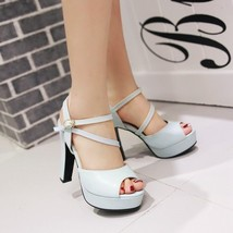ps245 European style double strappy sandals, size 35-40, blue - $48.80