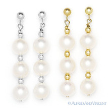 7mm Freshwater Cultured Pearl Drop Dangling Earrings in 14k Yellow or Wh... - $47.99