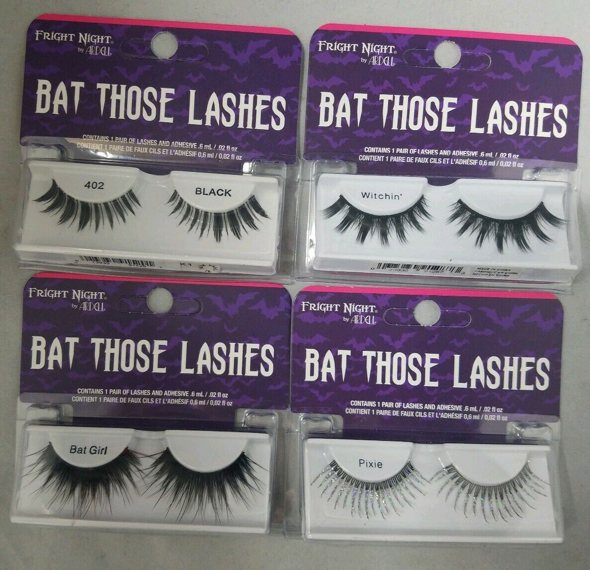 Set of 4 Fright Night by Ardell Bat Those Lashes Pixie Bat Girl Witchin 402 Blk - $19.79