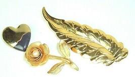 Vintage brooch lot of 3 lightweight gold tone mod metal heart leaf rose ... - $8.86