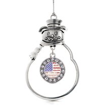 Inspired Silver Cute American Flag Circle Snowman Holiday Christmas Tree... - $14.69