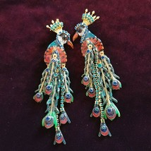 Vintage Lunch at The Ritz Peacock Peacourture Clip on Earrings New Mom Gift - $205.69