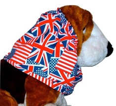 Dog Snood Red White Blue American Flags Union Jacks Cotton Blend Large - $12.50