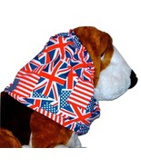 Dog Snood Red White Blue American Flags Union Jacks Cotton Blend Puppy R... - $10.50