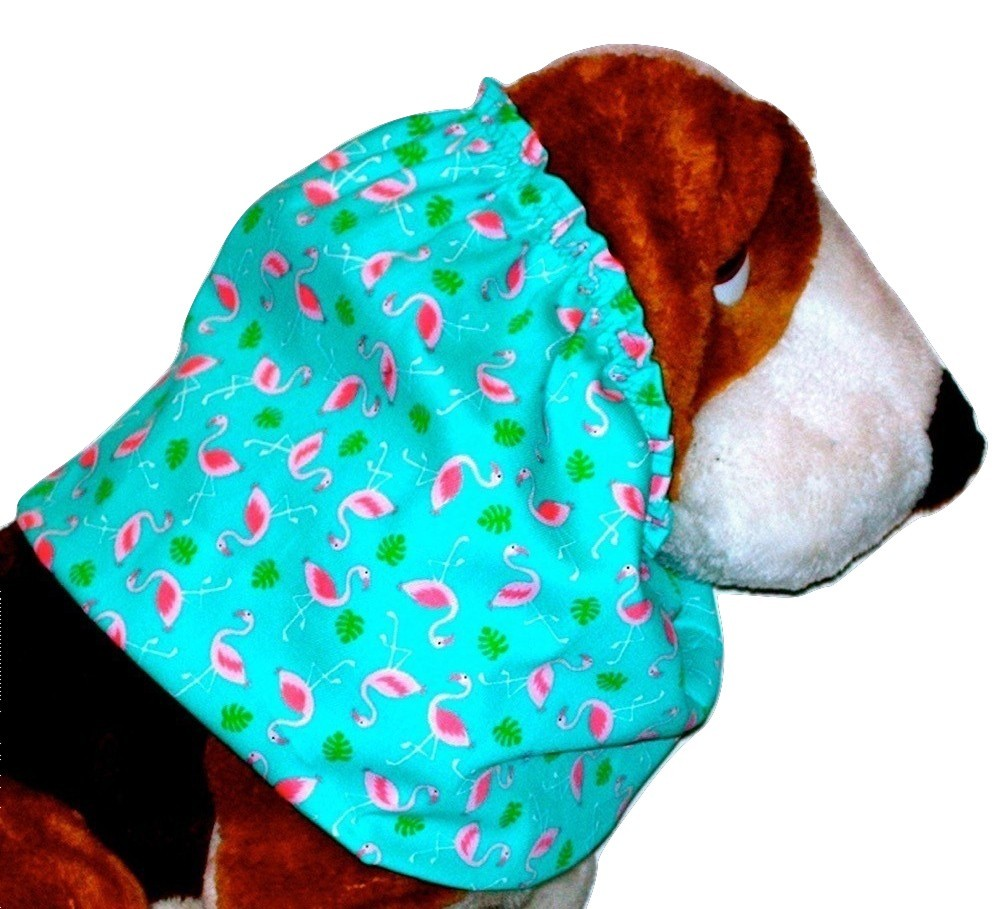 Dog Snood Pink Flamingos on Turquoise Cotton Twill Basset Hound Large