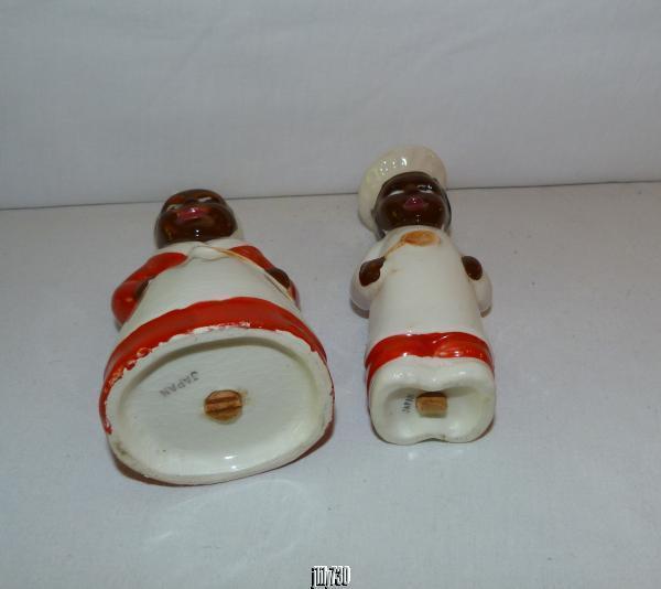 Vintage Aunt Jemima & Cook Japan Black Americana Salt and Pepper Shakers No Res!