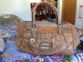 Authentic Guess Carlisa Cognac Brown Satchel Tote Shoulder Bag Handbag V... - $119.99
