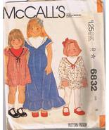 McCall's 6832 Children's Dress Size 6 - Cut and... - $3.00