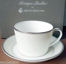 Monique Lhuillier Royal Doulton Pointe D'Esprit Tea Cup & Saucer Made in... - $29.90