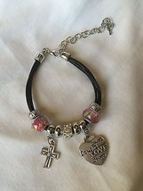 Artisan charm bracelet with silver cross and heart charms - $12.86