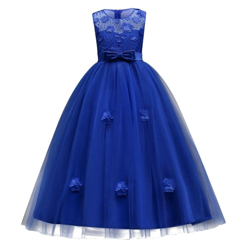 Girls Ball Gown Retro Vintage Party Wedding Bridesmaid Blue 8-9 Years  - $66.70
