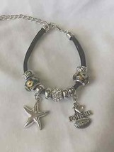 Artisan charm bracelet with silver starfish and I love football charms - $12.86