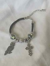Artisan charm bracelet with owl and cross charms - $12.86