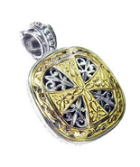 Gerochristo 3315 - Solid Gold & Silver - Medieval Byzantine Cross Pendant  - $730.00
